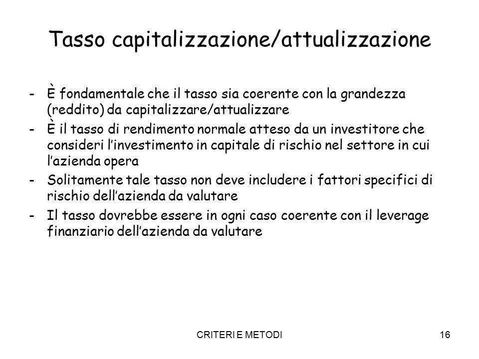 CRITERI E METODI16 Tasso capitalizzazione/attualizzazione -È fondamentale che il tasso sia coerente con la grandezza (reddito) da capitalizzare/attual