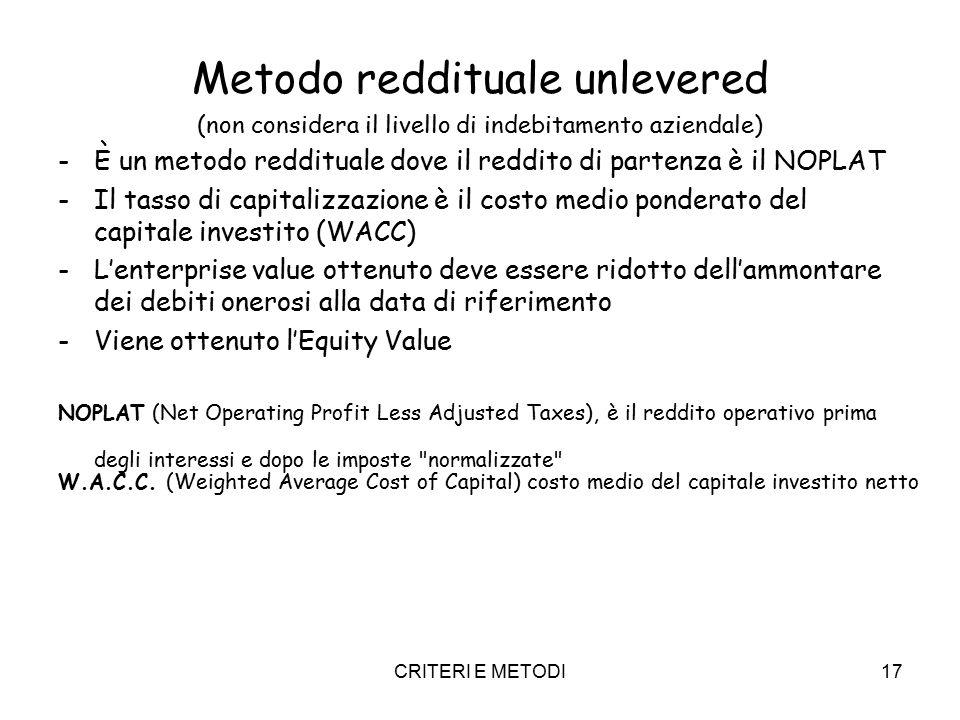 CRITERI E METODI17 Metodo reddituale unlevered (non considera il livello di indebitamento aziendale) -È un metodo reddituale dove il reddito di partenza è il NOPLAT -Il tasso di capitalizzazione è il costo medio ponderato del capitale investito (WACC) -L'enterprise value ottenuto deve essere ridotto dell'ammontare dei debiti onerosi alla data di riferimento -Viene ottenuto l'Equity Value NOPLAT (Net Operating Profit Less Adjusted Taxes), è il reddito operativo prima degli interessi e dopo le imposte normalizzate W.A.C.C.