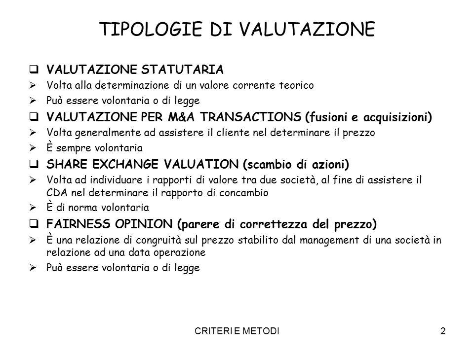 CRITERI E METODI2 TIPOLOGIE DI VALUTAZIONE  VALUTAZIONE STATUTARIA  Volta alla determinazione di un valore corrente teorico  Può essere volontaria o di legge  VALUTAZIONE PER M&A TRANSACTIONS (fusioni e acquisizioni)  Volta generalmente ad assistere il cliente nel determinare il prezzo  È sempre volontaria  SHARE EXCHANGE VALUATION (scambio di azioni)  Volta ad individuare i rapporti di valore tra due società, al fine di assistere il CDA nel determinare il rapporto di concambio  È di norma volontaria  FAIRNESS OPINION (parere di correttezza del prezzo)  È una relazione di congruità sul prezzo stabilito dal management di una società in relazione ad una data operazione  Può essere volontaria o di legge
