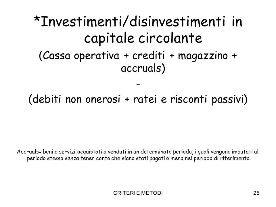 CRITERI E METODI25 *Investimenti/disinvestimenti in capitale circolante (Cassa operativa + crediti + magazzino + accruals) - (debiti non onerosi + rat