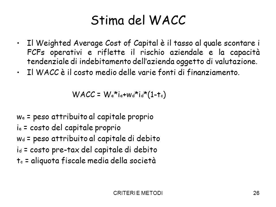 CRITERI E METODI26 Stima del WACC Il Weighted Average Cost of Capital è il tasso al quale scontare i FCFs operativi e riflette il rischio aziendale e la capacità tendenziale di indebitamento dell'azienda oggetto di valutazione.