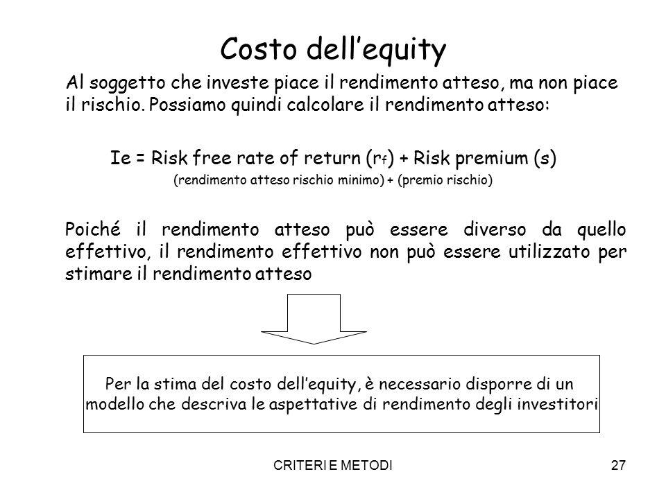 CRITERI E METODI27 Costo dell'equity Al soggetto che investe piace il rendimento atteso, ma non piace il rischio. Possiamo quindi calcolare il rendime