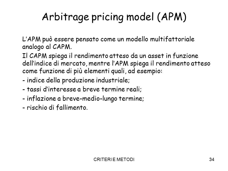 CRITERI E METODI34 Arbitrage pricing model (APM) L'APM può essere pensato come un modello multifattoriale analogo al CAPM. Il CAPM spiega il rendiment