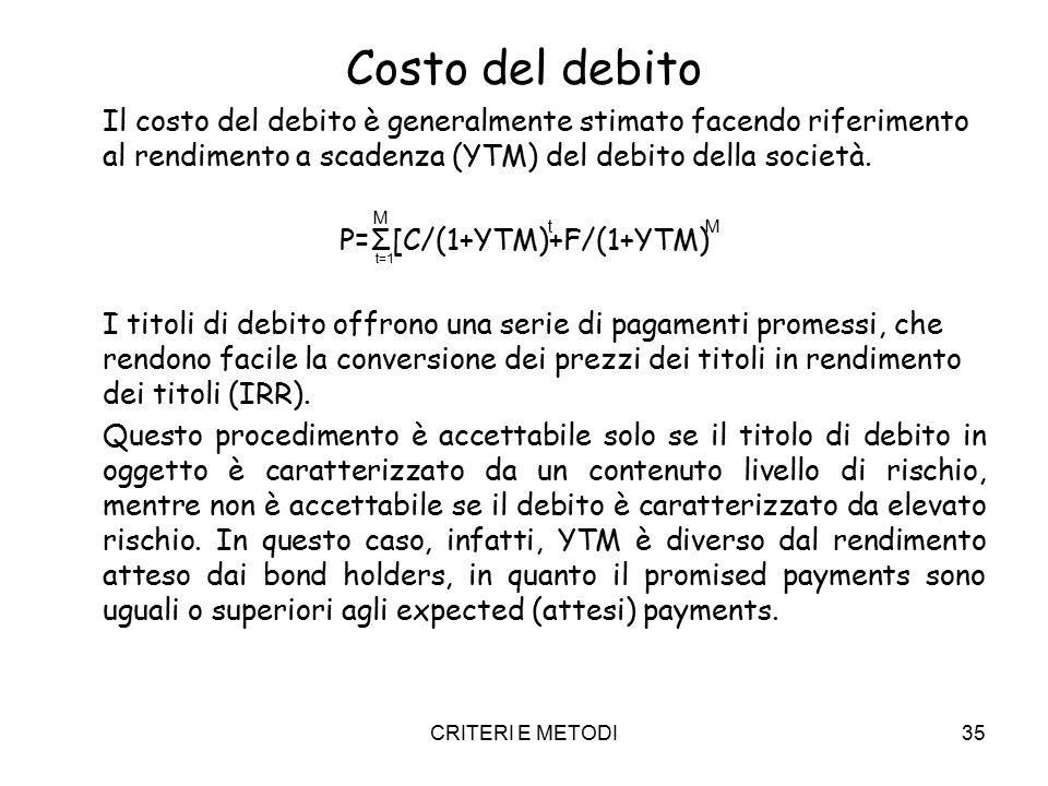 CRITERI E METODI35 Costo del debito Il costo del debito è generalmente stimato facendo riferimento al rendimento a scadenza (YTM) del debito della società.