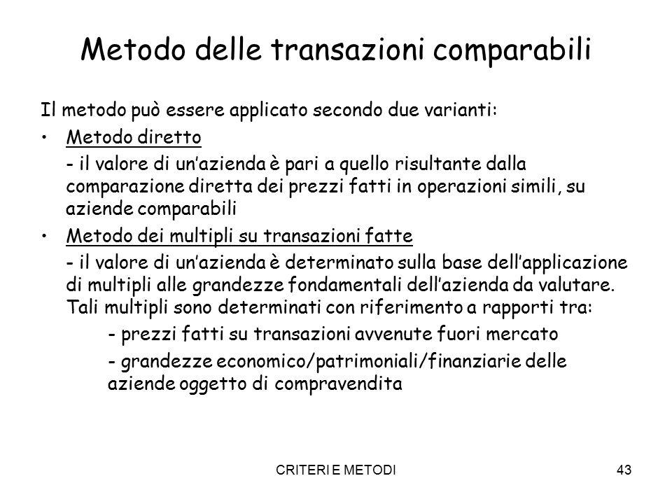 CRITERI E METODI43 Metodo delle transazioni comparabili Il metodo può essere applicato secondo due varianti: Metodo diretto - il valore di un'azienda