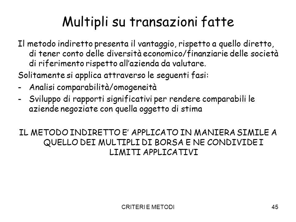 CRITERI E METODI45 Multipli su transazioni fatte Il metodo indiretto presenta il vantaggio, rispetto a quello diretto, di tener conto delle diversità economico/finanziarie delle società di riferimento rispetto all'azienda da valutare.