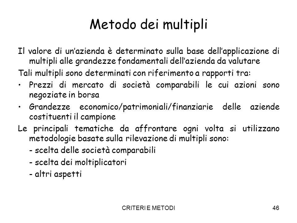 CRITERI E METODI46 Metodo dei multipli Il valore di un'azienda è determinato sulla base dell'applicazione di multipli alle grandezze fondamentali dell