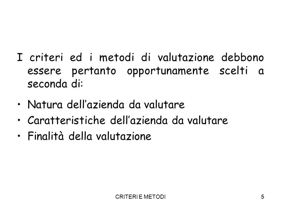 CRITERI E METODI6 CRITERI DEL COSTO -Metodo patrimoniale semplice -Metodo patrimoniale complesso CRITERI ECONOMICI FINANZIARI (DEI FLUSSI) -Metodi reddituali -Metodi finanziari CRITERI MISTI -Metodo misto -Metodo del valore medio CRITERI DI MERCATO -Metodi di borsa -Metodi delle transazioni comparabili -Metodi empirici