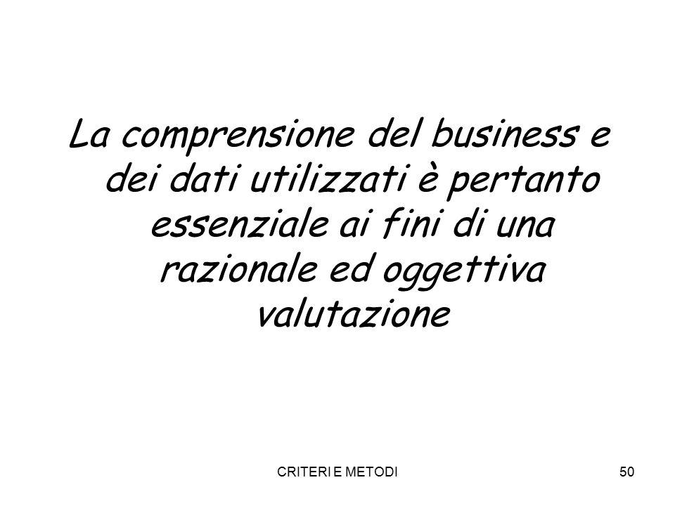 CRITERI E METODI50 La comprensione del business e dei dati utilizzati è pertanto essenziale ai fini di una razionale ed oggettiva valutazione
