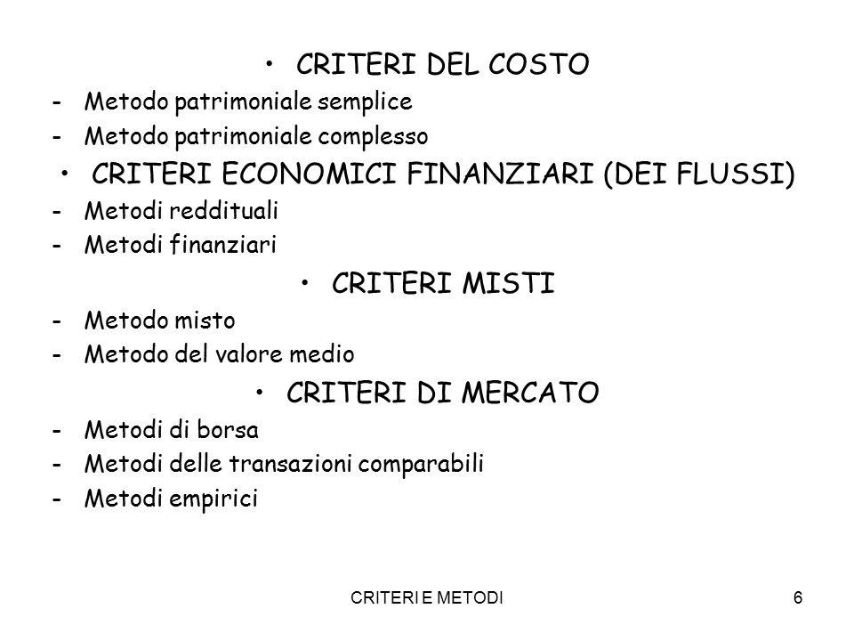 CRITERI E METODI6 CRITERI DEL COSTO -Metodo patrimoniale semplice -Metodo patrimoniale complesso CRITERI ECONOMICI FINANZIARI (DEI FLUSSI) -Metodi red