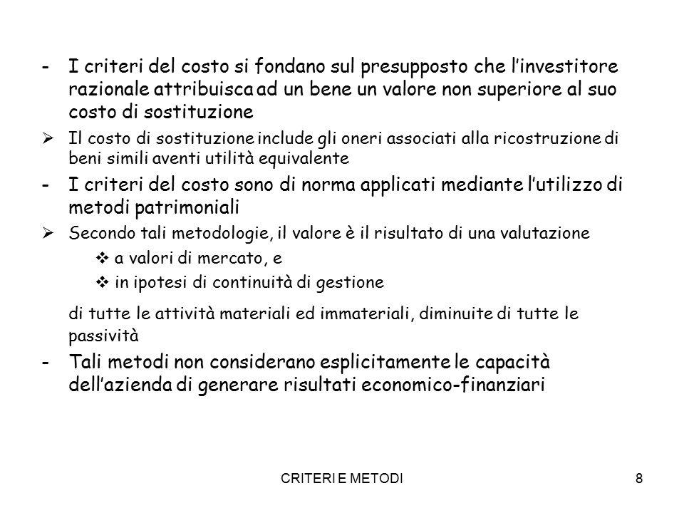 CRITERI E METODI29 CAPM CAPM (Bill Sharpe) - E' l'equazione che descrive il trade-off (relazione) tra il tasso atteso di rendimento (expected return) e il rischio non diversificabile (systematic risk) i e = r s = r f + Beta (r m – r f ) Ietasso di rendimento normale Rfrisk free rate (rm – rf)premio per il rischio mercato (in Italia tra il 4 ed il 6%) Betacoefficiente beta del settore in cui l'azienda opera.