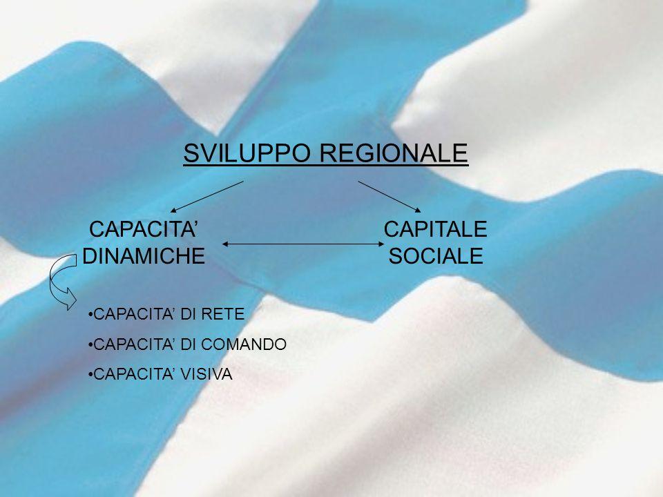 SVILUPPO REGIONALE CAPACITA' DINAMICHE CAPITALE SOCIALE CAPACITA' DI RETE CAPACITA' DI COMANDO CAPACITA' VISIVA