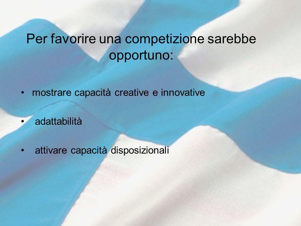 Per favorire una competizione sarebbe opportuno: mostrare capacità creative e innovative adattabilità attivare capacità disposizionali