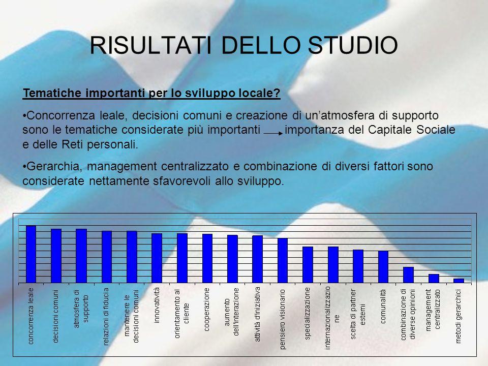 RISULTATI DELLO STUDIO Tematiche importanti per lo sviluppo locale.