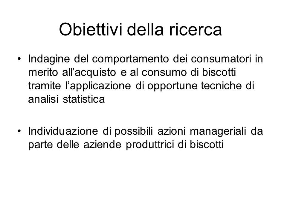 Obiettivi della ricerca Indagine del comportamento dei consumatori in merito all'acquisto e al consumo di biscotti tramite l'applicazione di opportune tecniche di analisi statistica Individuazione di possibili azioni manageriali da parte delle aziende produttrici di biscotti