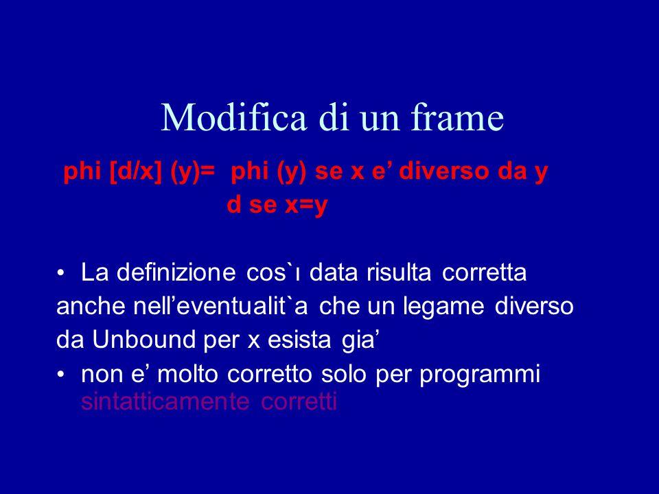 Modifica di un frame phi [d/x] (y)= phi (y) se x e' diverso da y d se x=y La definizione cos`ı data risulta corretta anche nell'eventualit`a che un le