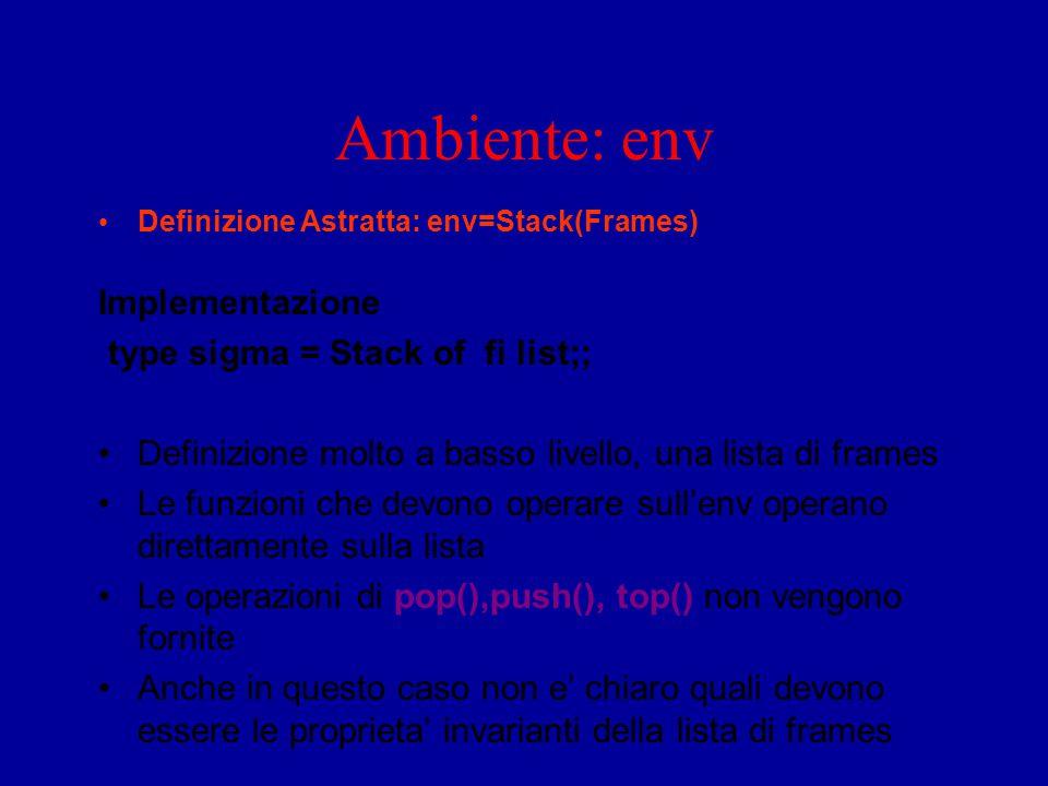 Ambiente: env Definizione Astratta: env=Stack(Frames) Implementazione type sigma = Stack of fi list;; Definizione molto a basso livello, una lista di