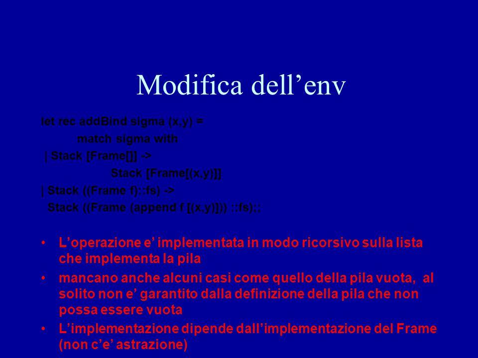 Modifica dell'env let rec addBind sigma (x,y) = match sigma with | Stack [Frame[]] -> Stack [Frame[(x,y)]] | Stack ((Frame f)::fs) -> Stack ((Frame (a
