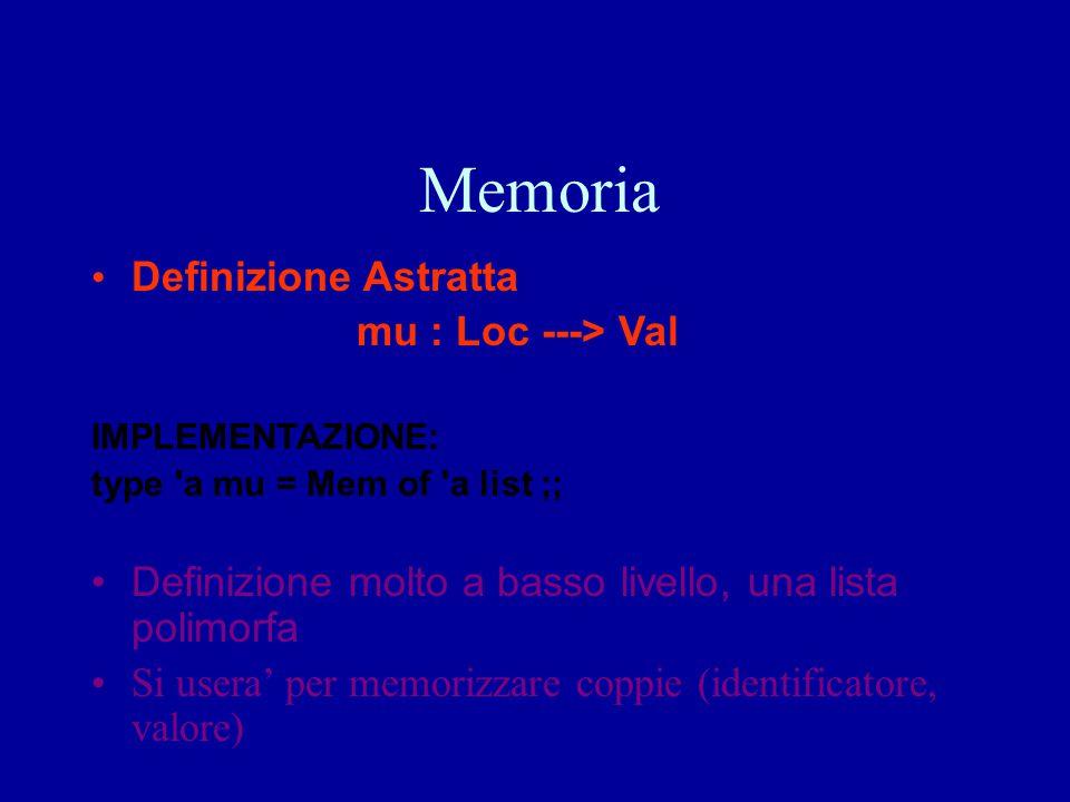 Memoria Definizione Astratta mu : Loc ---> Val IMPLEMENTAZIONE: type 'a mu = Mem of 'a list ;; Definizione molto a basso livello, una lista polimorfa