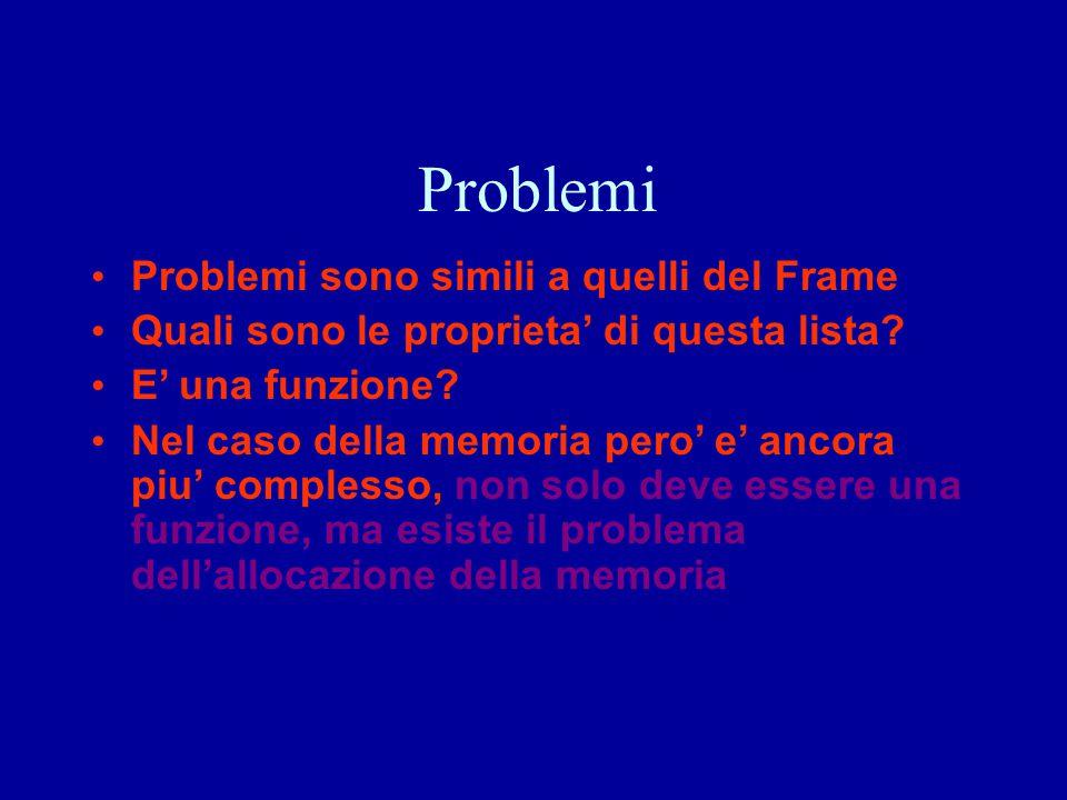 Problemi Problemi sono simili a quelli del Frame Quali sono le proprieta' di questa lista? E' una funzione? Nel caso della memoria pero' e' ancora piu