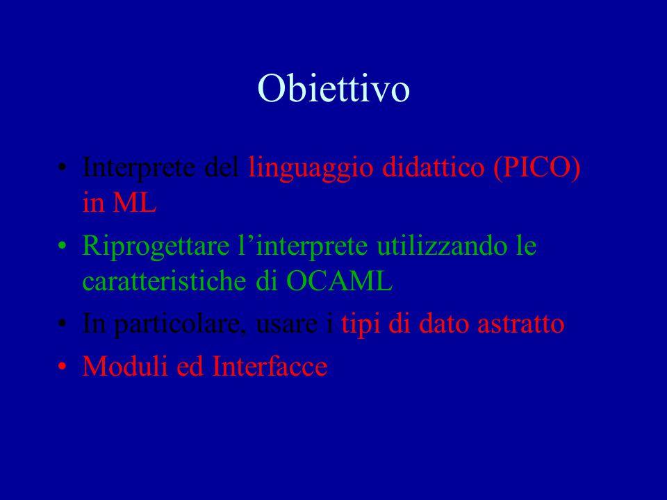Obiettivo Interprete del linguaggio didattico (PICO) in ML Riprogettare l'interprete utilizzando le caratteristiche di OCAML In particolare, usare i t