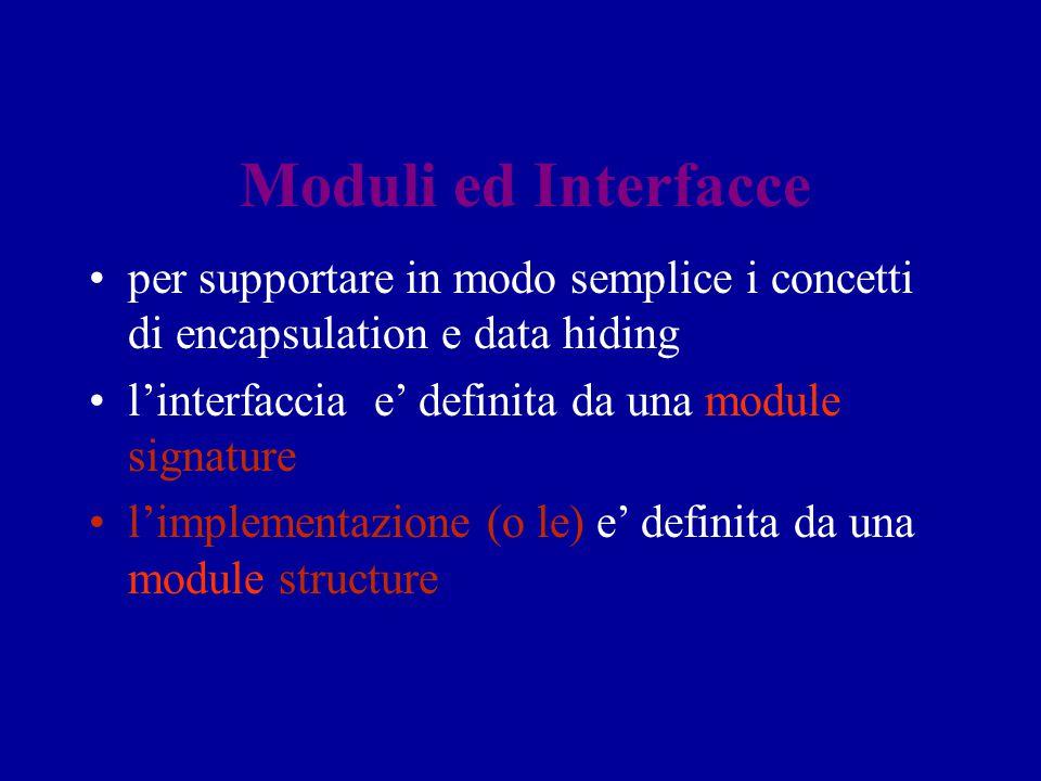 Moduli ed Interfacce per supportare in modo semplice i concetti di encapsulation e data hiding l'interfaccia e' definita da una module signature l'imp