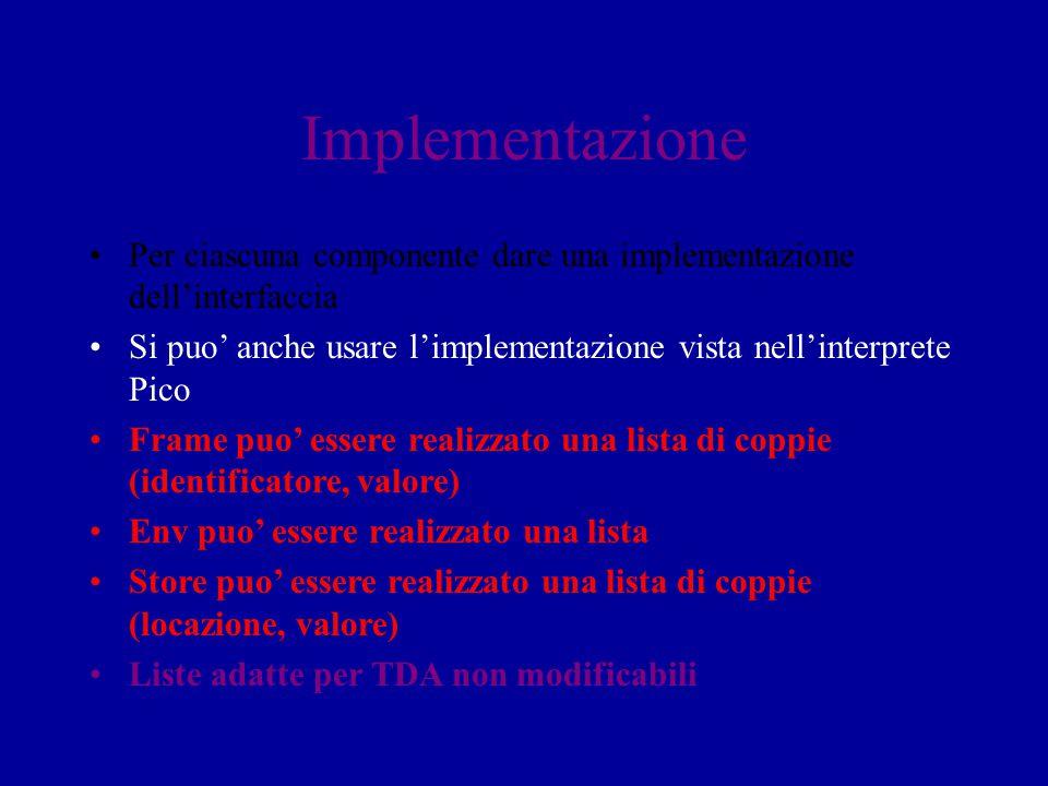 Implementazione Per ciascuna componente dare una implementazione dell'interfaccia Si puo' anche usare l'implementazione vista nell'interprete Pico Fra