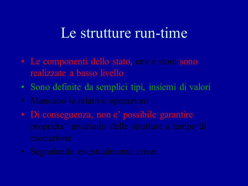 Funzioni di valutazione semantica Per le varie componenti valProg: prog * sigma * mu-> sigma * mu valCom: com * sigma * mu-> sigma * mu valDecl: com * sigma * mu-> sigma * mu valExp: aExp * sigma * mu-> value* sigma * mu La loro implementazione dipende dall'implementazione dell'env (sigma) e dello store (mu)