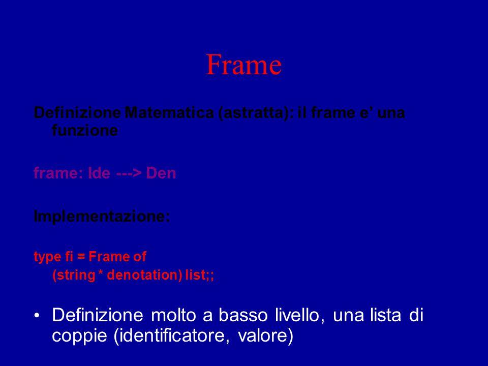 Frame Definizione Matematica (astratta): il frame e' una funzione frame: Ide ---> Den Implementazione: type fi = Frame of (string * denotation) list;;