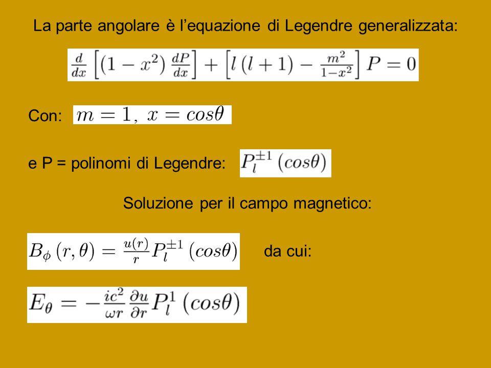 La parte angolare è l'equazione di Legendre generalizzata: Con: e P = polinomi di Legendre: Soluzione per il campo magnetico: da cui: