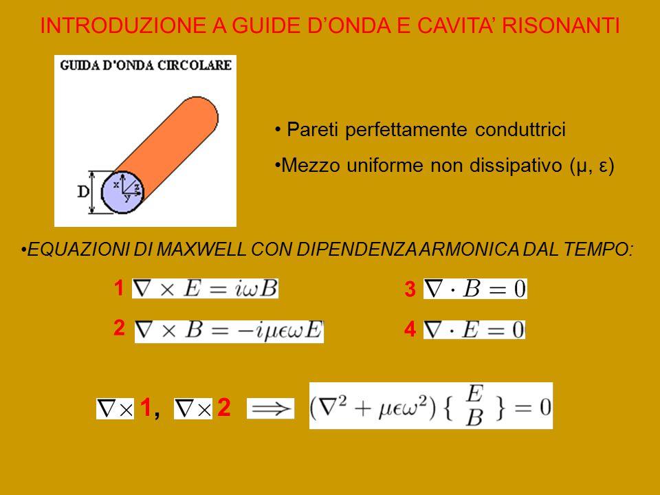 INTRODUZIONE A GUIDE D'ONDA E CAVITA' RISONANTI Pareti perfettamente conduttrici Mezzo uniforme non dissipativo (μ, ε) EQUAZIONI DI MAXWELL CON DIPENDENZA ARMONICA DAL TEMPO: 1212 3434 1,1,2