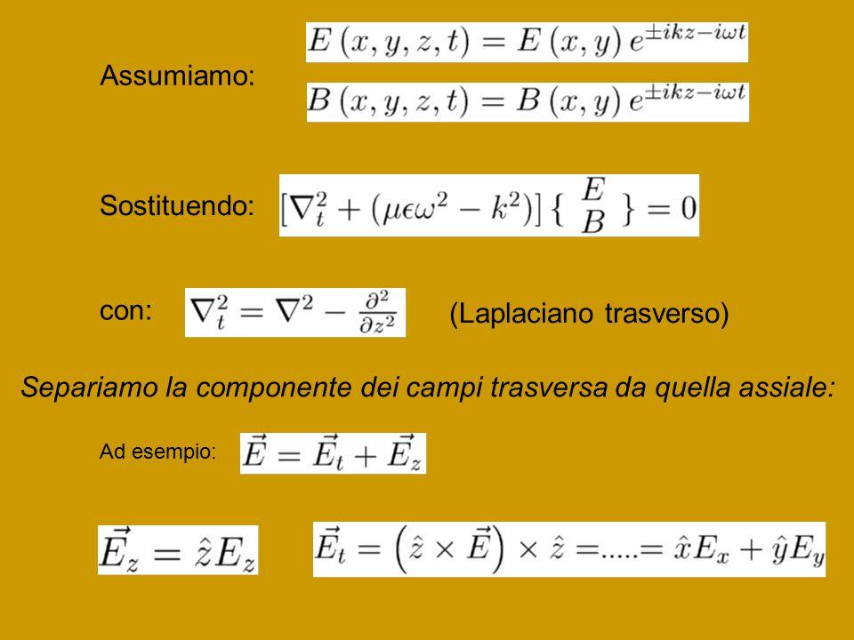 Assumiamo: Sostituendo: con: (Laplaciano trasverso) Separiamo la componente dei campi trasversa da quella assiale: Ad esempio: