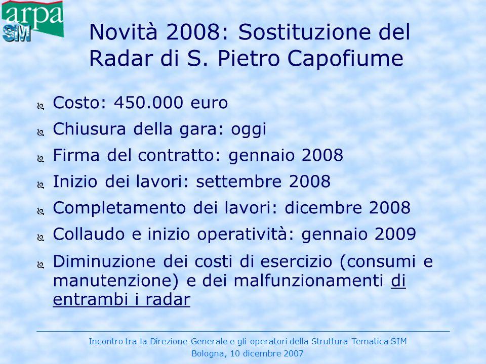 Incontro tra la Direzione Generale e gli operatori della Struttura Tematica SIM Bologna, 10 dicembre 2007 Novità 2008: Sostituzione del Radar di S. Pi
