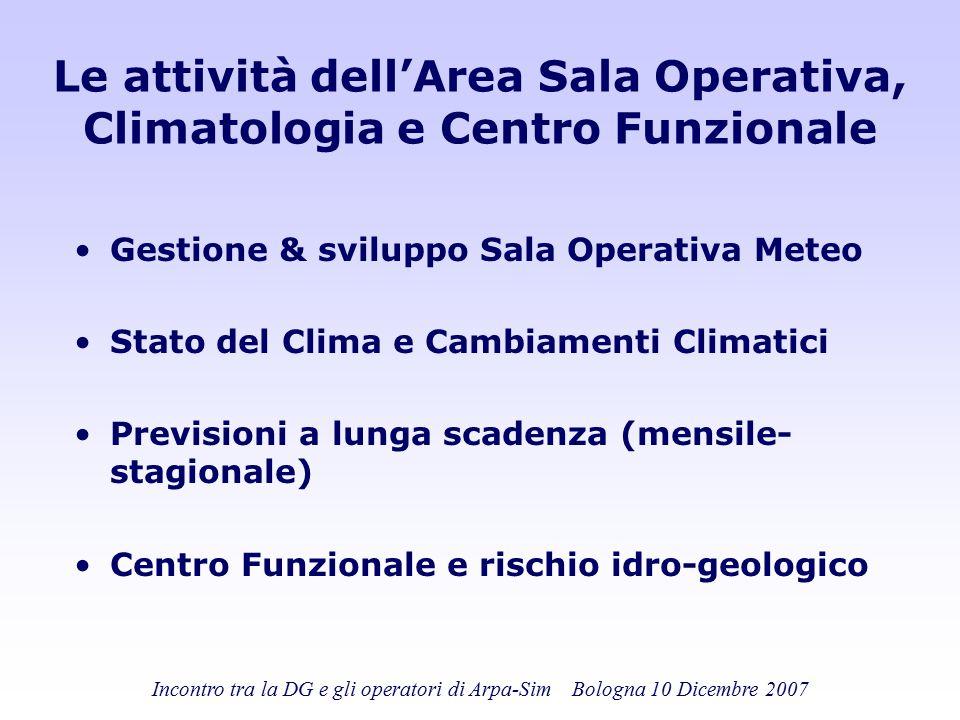 Incontro tra la DG e gli operatori di Arpa-Sim Bologna 10 Dicembre 2007 Le attività dell'Area Sala Operativa, Climatologia e Centro Funzionale Gestion