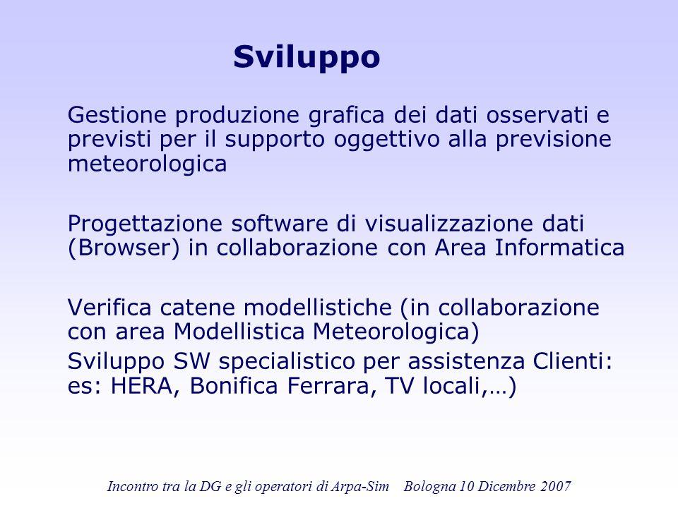 Incontro tra la DG e gli operatori di Arpa-Sim Bologna 10 Dicembre 2007 Sviluppo Gestione produzione grafica dei dati osservati e previsti per il supp
