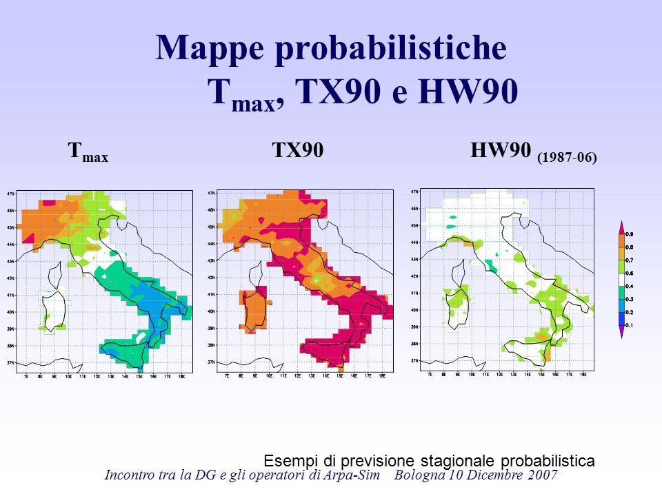 Incontro tra la DG e gli operatori di Arpa-Sim Bologna 10 Dicembre 2007 Mappe probabilistiche T max, TX90 e HW90 T max HW90 (1987-06) TX90 Esempi di p