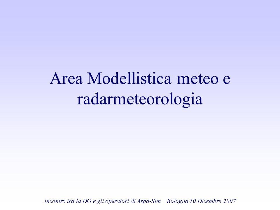 Incontro tra la DG e gli operatori di Arpa-Sim Bologna 10 Dicembre 2007 Area Modellistica meteo e radarmeteorologia