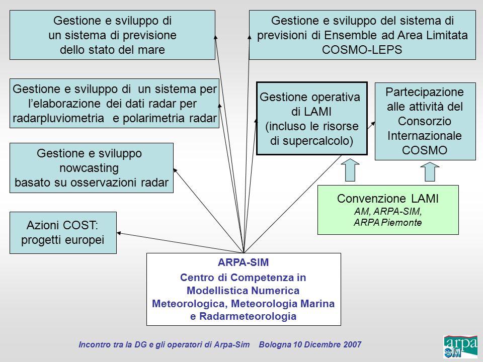 Incontro tra la DG e gli operatori di Arpa-Sim Bologna 10 Dicembre 2007 ARPA-SIM Centro di Competenza in Modellistica Numerica Meteorologica, Meteorol