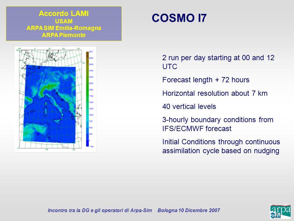 Incontro tra la DG e gli operatori di Arpa-Sim Bologna 10 Dicembre 2007 COSMO I7 2 run per day starting at 00 and 12 UTC Forecast length + 72 hours Ho