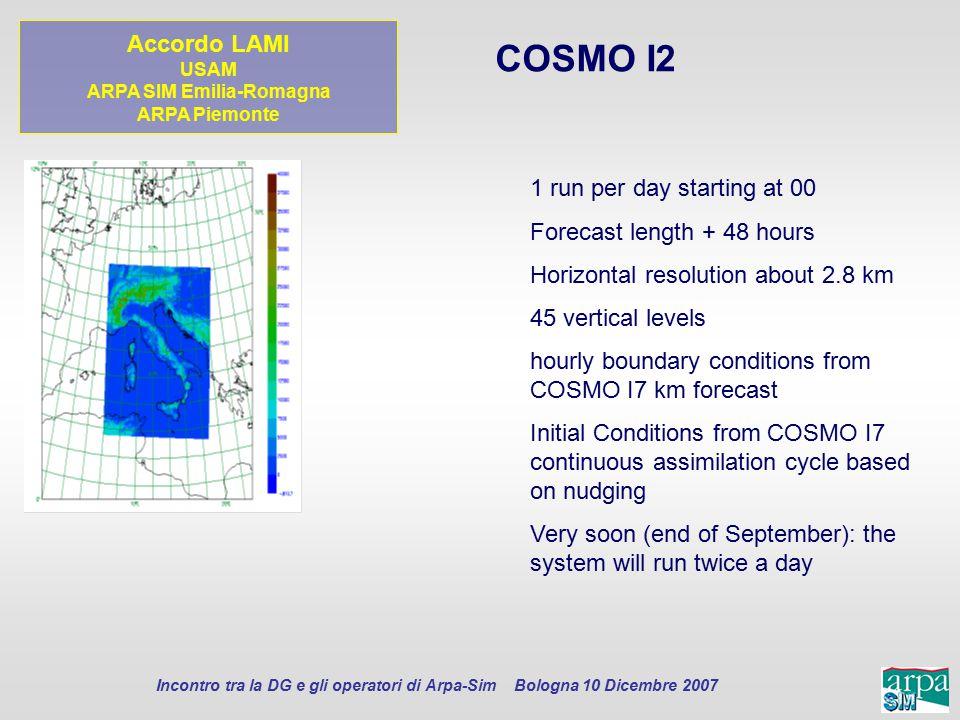 Incontro tra la DG e gli operatori di Arpa-Sim Bologna 10 Dicembre 2007 COSMO I2 1 run per day starting at 00 Forecast length + 48 hours Horizontal re
