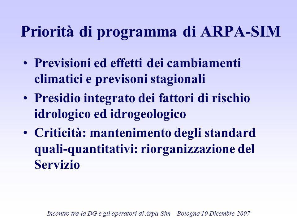 Incontro tra la DG e gli operatori di Arpa-Sim Bologna 10 Dicembre 2007 Priorità di programma di ARPA-SIM Previsioni ed effetti dei cambiamenti climat