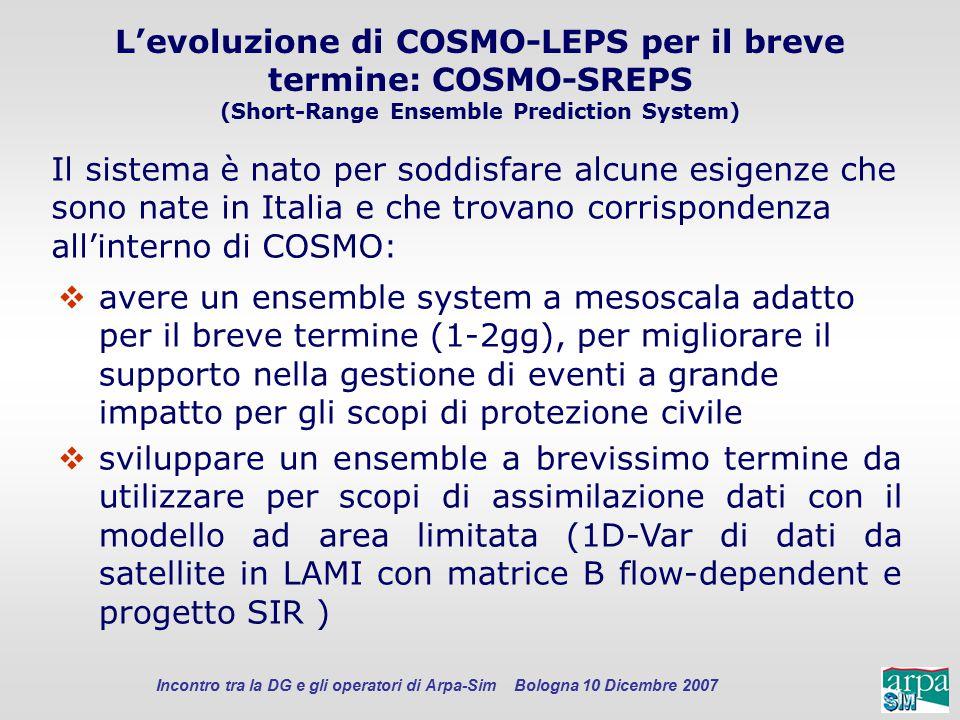Incontro tra la DG e gli operatori di Arpa-Sim Bologna 10 Dicembre 2007 L'evoluzione di COSMO-LEPS per il breve termine: COSMO-SREPS (Short-Range Ense