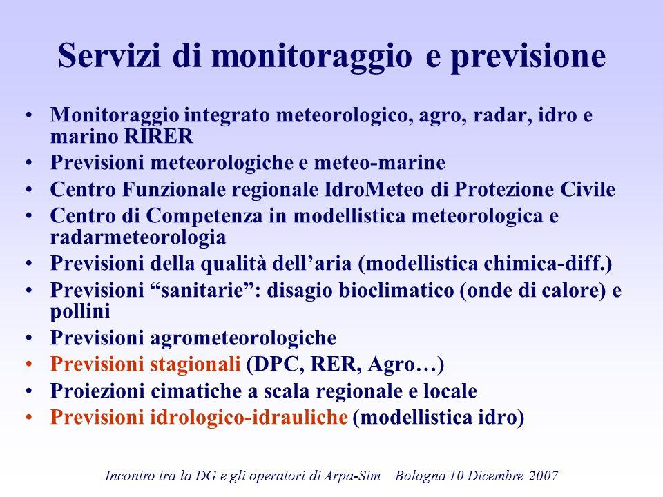 Incontro tra la DG e gli operatori di Arpa-Sim Bologna 10 Dicembre 2007 Servizi di monitoraggio e previsione Monitoraggio integrato meteorologico, agr