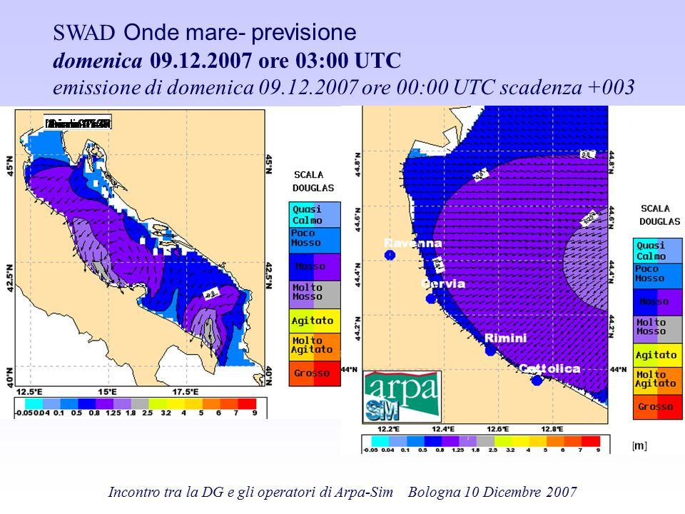 SWAD Onde mare- previsione domenica 09.12.2007 ore 03:00 UTC emissione di domenica 09.12.2007 ore 00:00 UTC scadenza +003