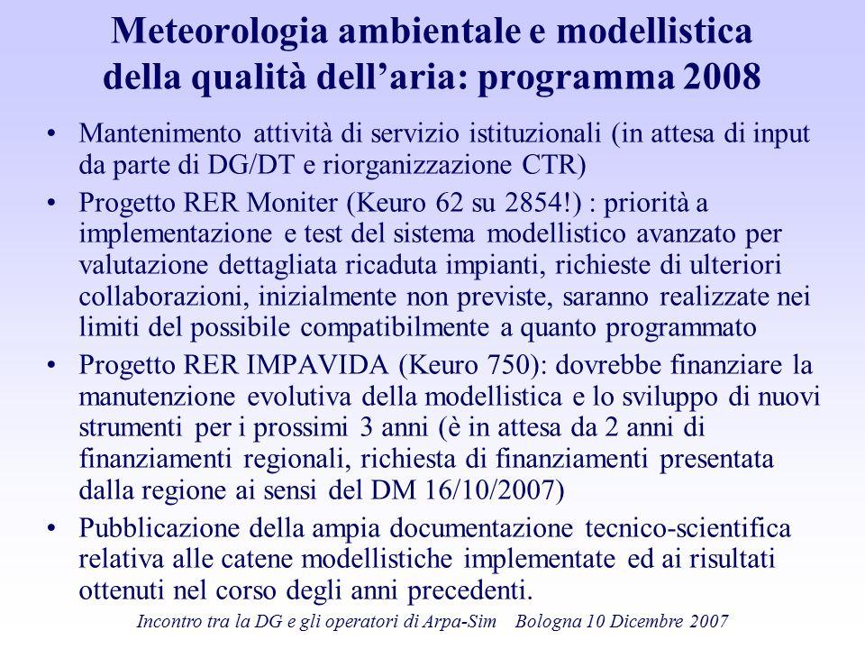 Meteorologia ambientale e modellistica della qualità dell'aria: programma 2008 Mantenimento attività di servizio istituzionali (in attesa di input da