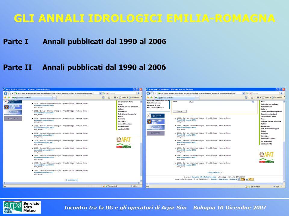 Incontro tra la DG e gli operatori di Arpa-Sim Bologna 10 Dicembre 2007 GLI ANNALI IDROLOGICI EMILIA-ROMAGNA Parte I Annali pubblicati dal 1990 al 200