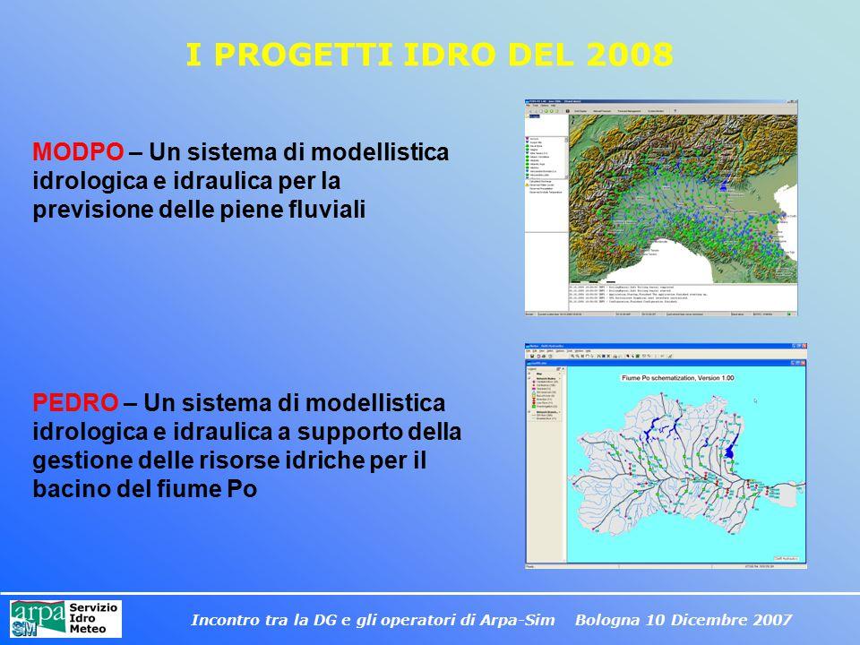 Incontro tra la DG e gli operatori di Arpa-Sim Bologna 10 Dicembre 2007 I PROGETTI IDRO DEL 2008 MODPO – Un sistema di modellistica idrologica e idrau