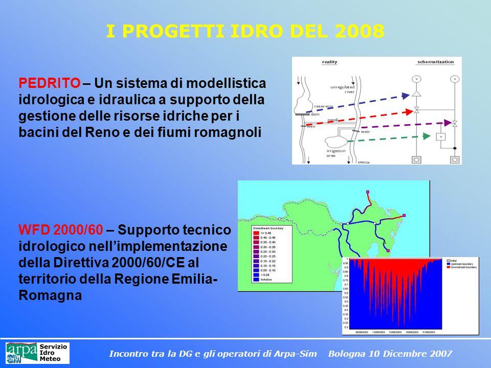 Incontro tra la DG e gli operatori di Arpa-Sim Bologna 10 Dicembre 2007 I PROGETTI IDRO DEL 2008 PEDRITO – Un sistema di modellistica idrologica e idr
