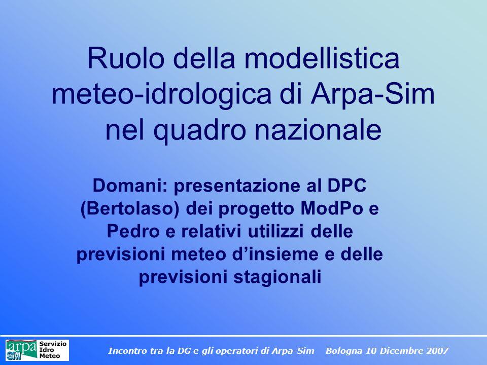 Incontro tra la DG e gli operatori di Arpa-Sim Bologna 10 Dicembre 2007 Ruolo della modellistica meteo-idrologica di Arpa-Sim nel quadro nazionale Dom