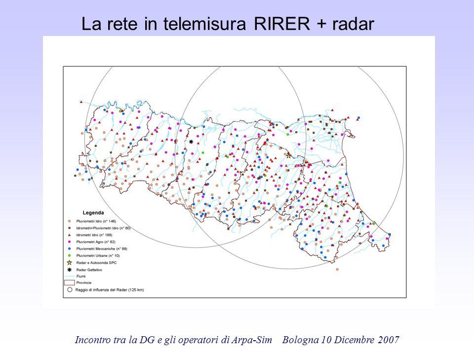 Incontro tra la DG e gli operatori di Arpa-Sim Bologna 10 Dicembre 2007 La rete in telemisura RIRER + radar